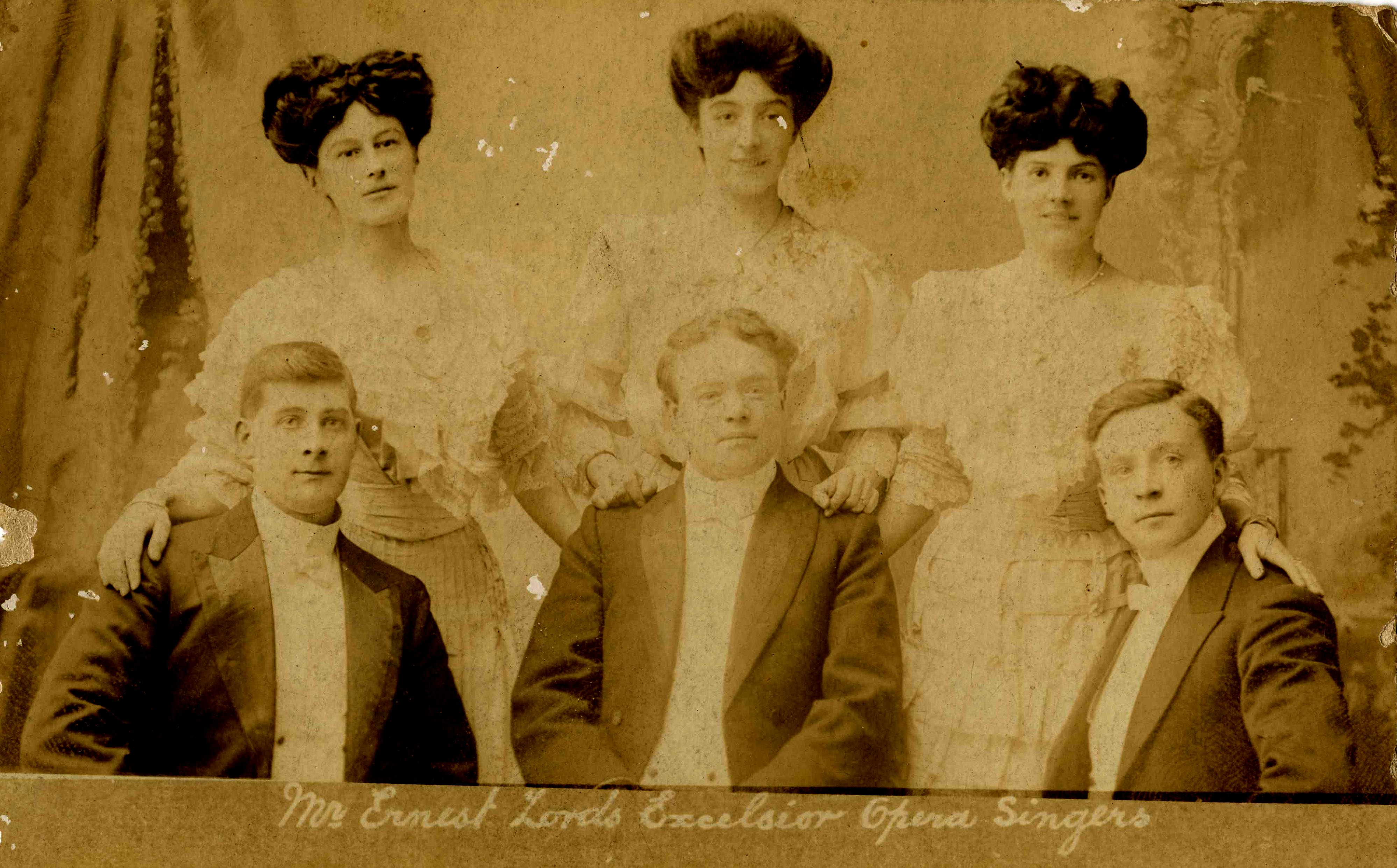 Photographic postcard of Mr Ernest Lords Excelsior Opera Singers