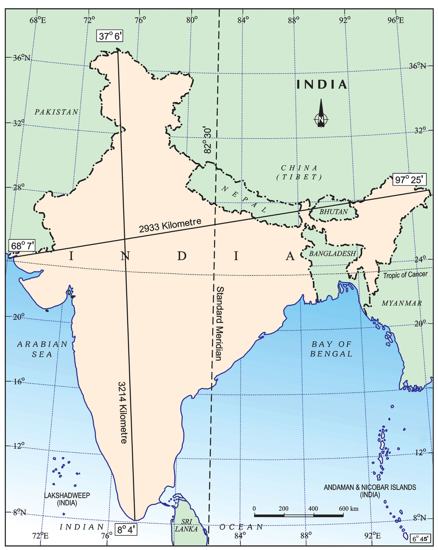 Map Of India With Tropic Of Cancer You Can See A Map Of Many - Location on map with latitude and longitude