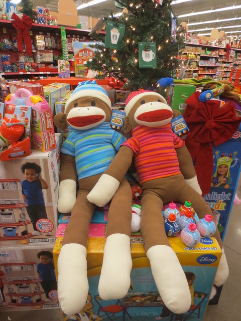 Giant sock monkey couple