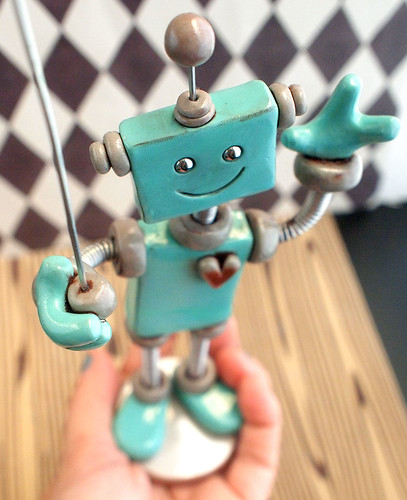 Robot Sculpture Mini Photo Sign Holder TEAL TOBIAS by HerArtSheLoves