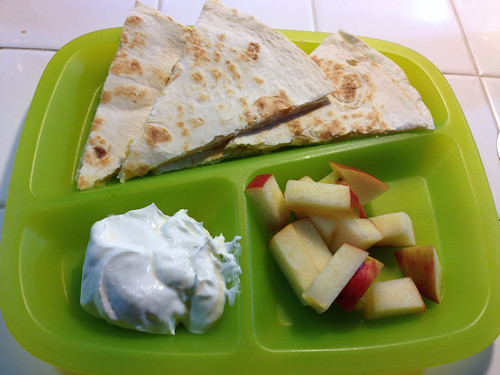 The boys breakfast. Quesadilla and chopped apples.