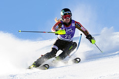 Brittany Phelan in action during the slalom in Courchevel, FRA