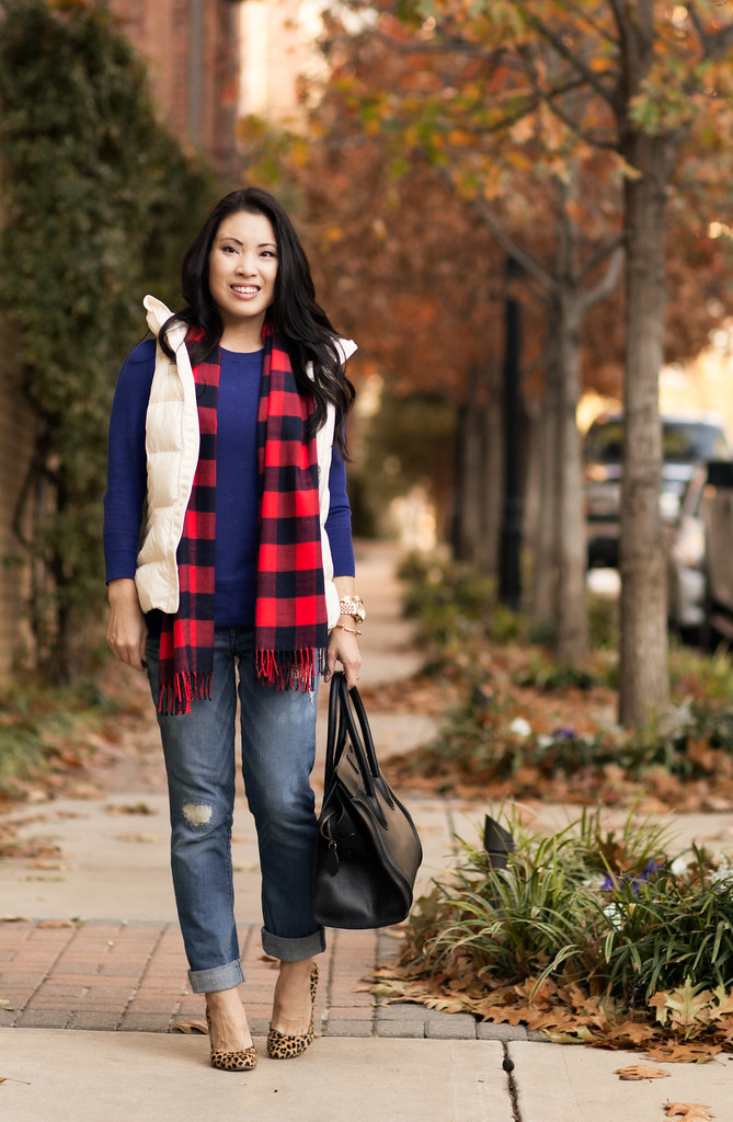 cute & little blog | lululemon white puffer quilted vest, gap buffalo plaid scarf, express stella distressed jeans, leopard pumps, celine luggage tote outfit