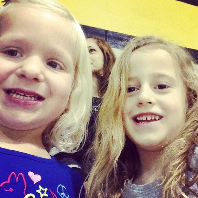 I just found selfies that Autumn and her bestie took of themselves last night at Nathan's PE night. I will be watching her friend a couple times a week once I become a SAHM in four weeks. What trouble am I in for?!!  haha! These two are glued to the hip.