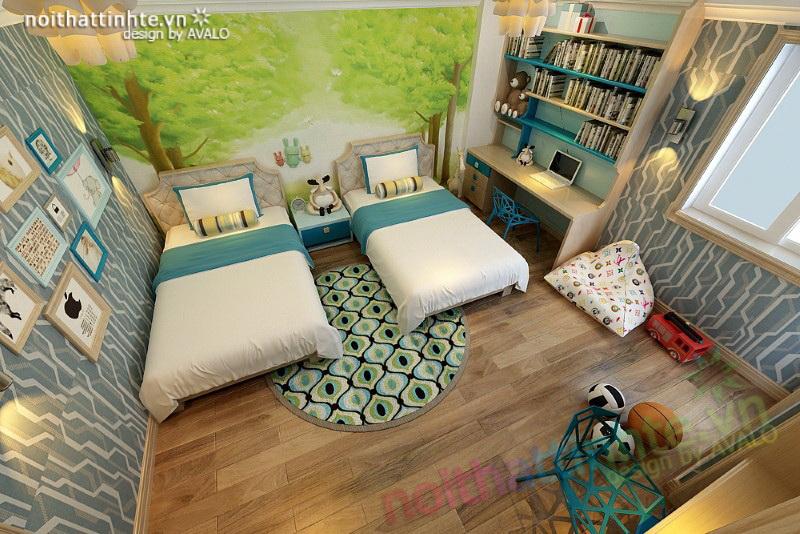 Không gian phòng ngủ sáng tạo dành cho hai con nhỏ