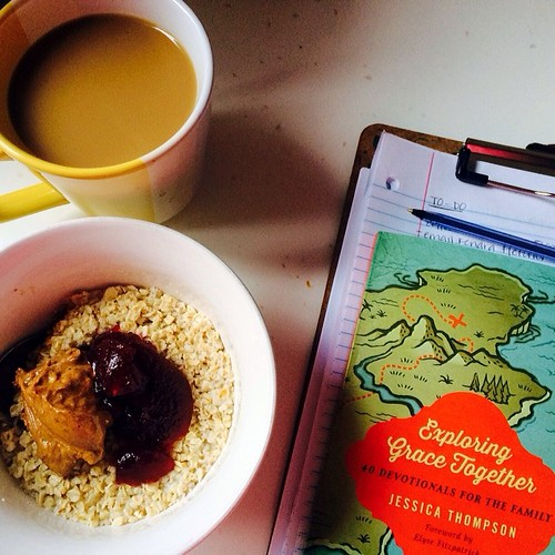 Peanut butter and jelly oatmeal and reading for breakfast this morning.