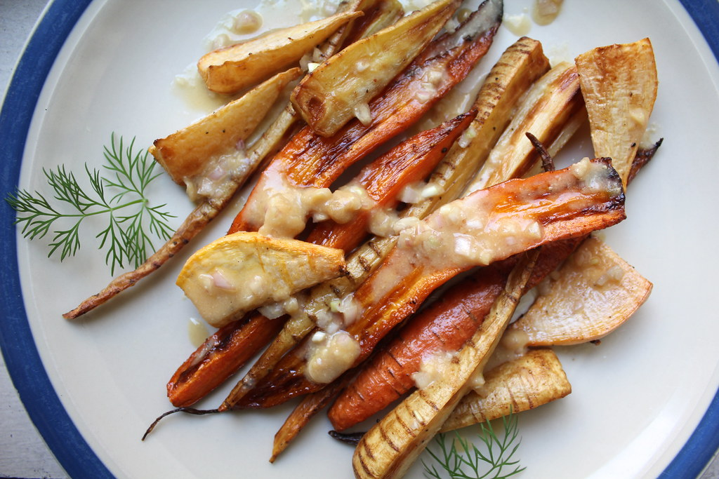 Roasted Root Vegetables with Miso Shallot Dressing – Not ...