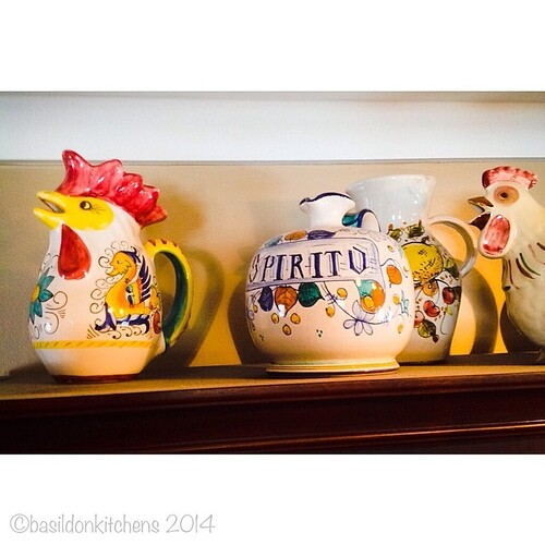 21/3/2014 - colourful {a colourful display on top of my buffet} #photoaday #colourful #pitchers #chickens