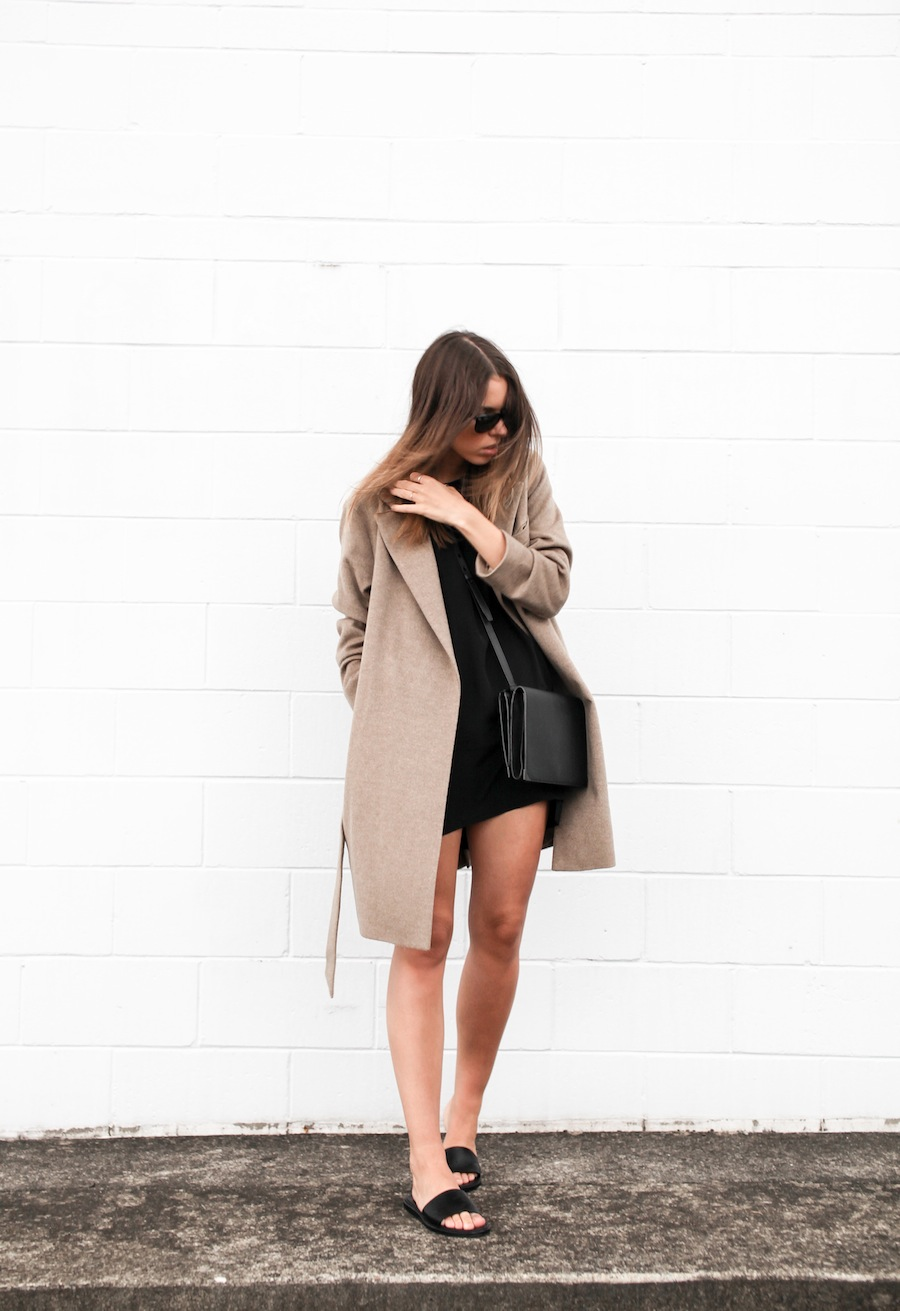 modern legacy blog camel long coat robe wool Zara slide sandals pool Alexander Wang Prisma Envelope cross body bag silk shift dress Nicholas black outfit street style blogger Australia (8 of 8)