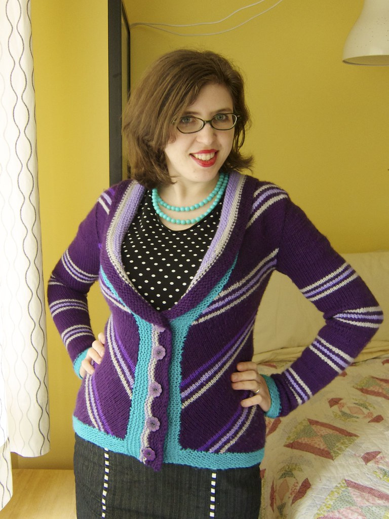 Finished: Delancey chevroned cardigan in purple stripes