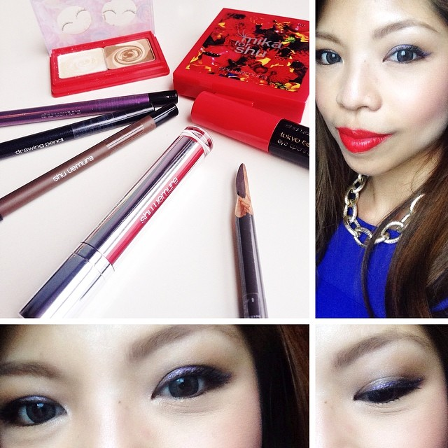 Yesterday was a #shuuemurasg kind of day  Used the new Shu for Mika eyeshadow duo along with the drawing pencil which I LOVE for a really simple eye look for dinner with my bestie ☺️ Yes, I pen-knife sharpened the Shu brow pencil myself, hence the jagged