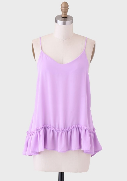 Ruche Making Plans Ruffled Tank In Lavender