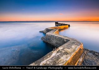 UK - Scotland - St Monans - Zigzag pier - Unusual Breakwater at Sunset