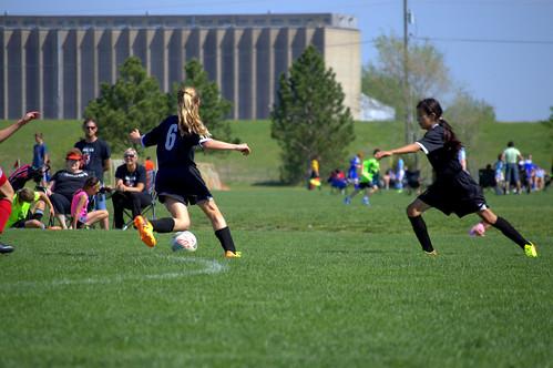 Emma playing soccer