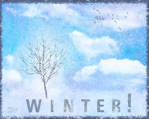 Painted image of winter tree