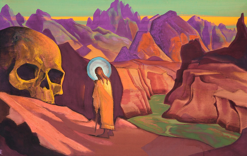 Nicholas Roerich - Issa and giant's head, 1932