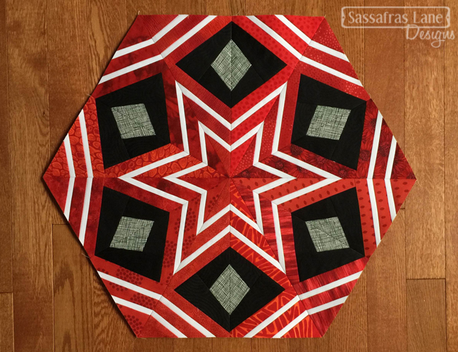 Red Peacock Feathers Block