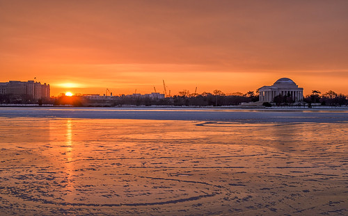 Sunrise on the Frozen Tidal Basin by Geoff Livingston