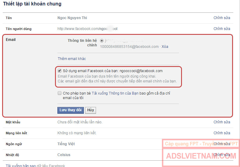 Thiết lập email Facebook