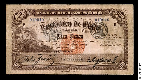 Lot 185 Chile 100 Pesos 7.9.1921