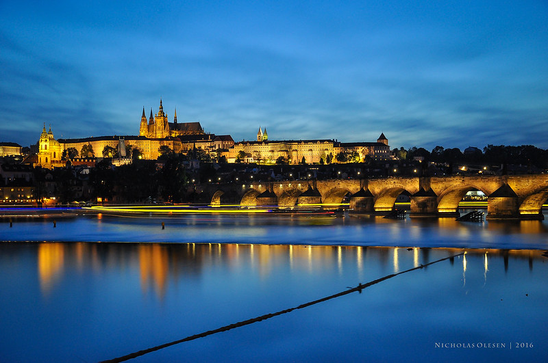 Prague - Vltava River, Charles Bridge, Prague Castle - Blue Hour