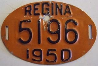 REGINA, SASKATCHEWAN 1950 ---BICYCLE LICENSE PLATE