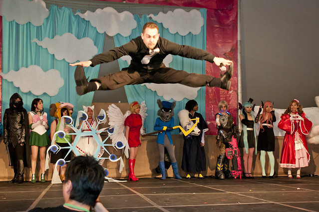 Uncle Yo shows off his athletic skills during the curtain call of the 4th annual BBG Cosplay Fashion Show. Photo by Mike Ratliff.