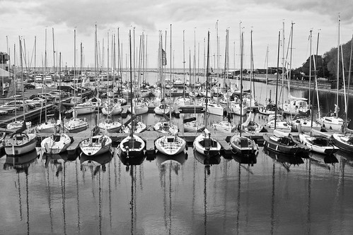 Yachts in Harbour in Black and White