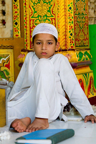 street new boy holiday color vertical religious photography delhi indian muslim islam mosque celebration holy photograph elderly ethnic ramadan cultural koran