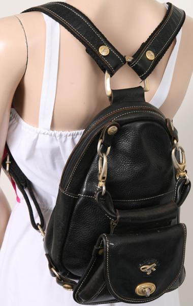 made in france black leather backpack bag handbag vintage 90s. Black Bedroom Furniture Sets. Home Design Ideas