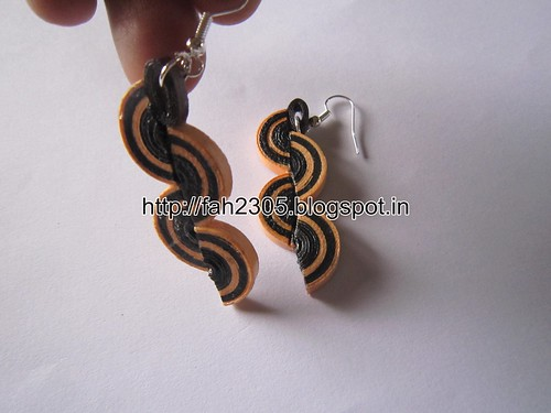 Handmade Jewelry - Paper Quilling Half Disk Earrings (Free Form Quiilling) (2) by fah2305