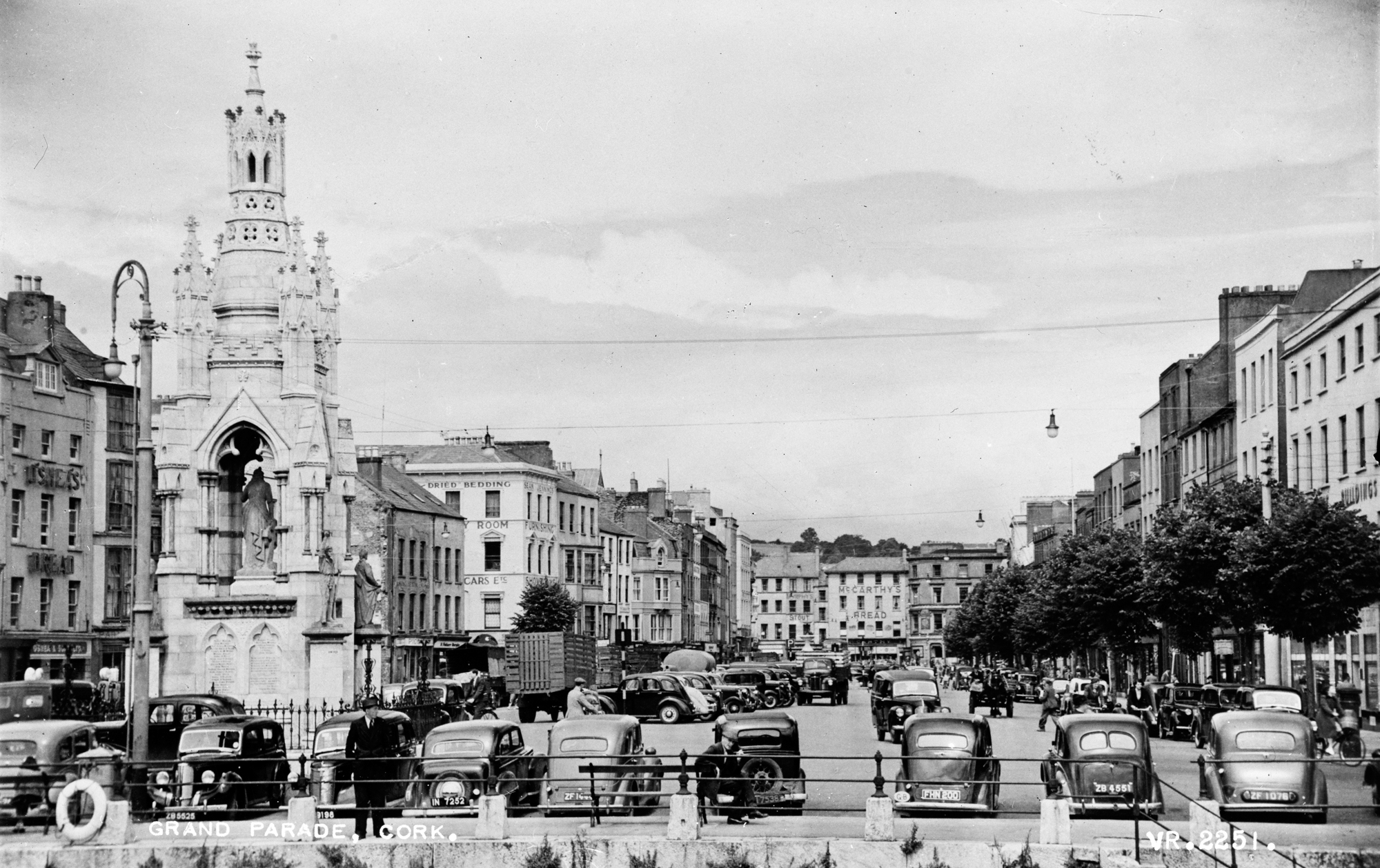 Old photo of The Grand Parade and National Monument, Cork, Ireland