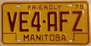 MANITOBA 1976 ---AMATEUR RADIO LICENSE PLATE