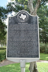 Photo of Sam Houston and Sam Houston, Jr black plaque