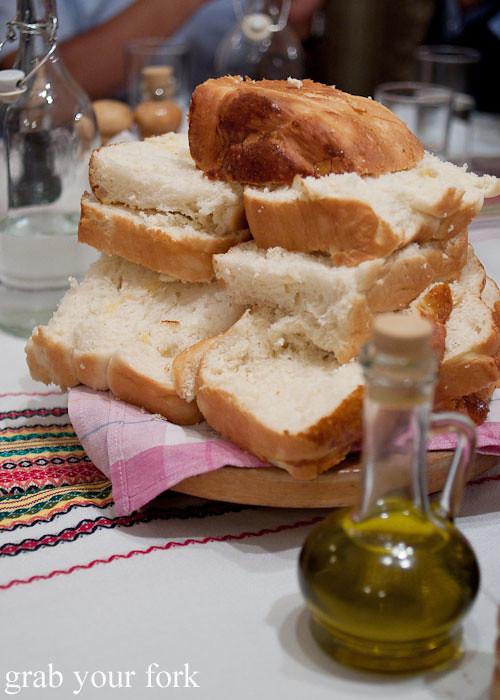 kozunak bread Manastirska Magernista Monastery Restaurant, Sofia, Bulgaria