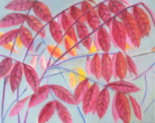 Red Leaves (Oil Bar Painting as of October 13, 2013) by randubnick