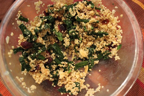Bulgur Kale Salad with Cranberries and Almonds