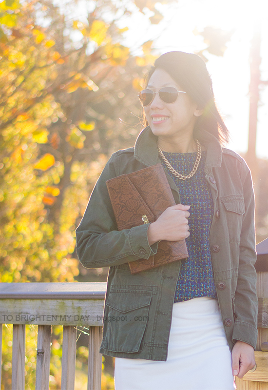 green military jacket, tweed front tee, white wool skirt