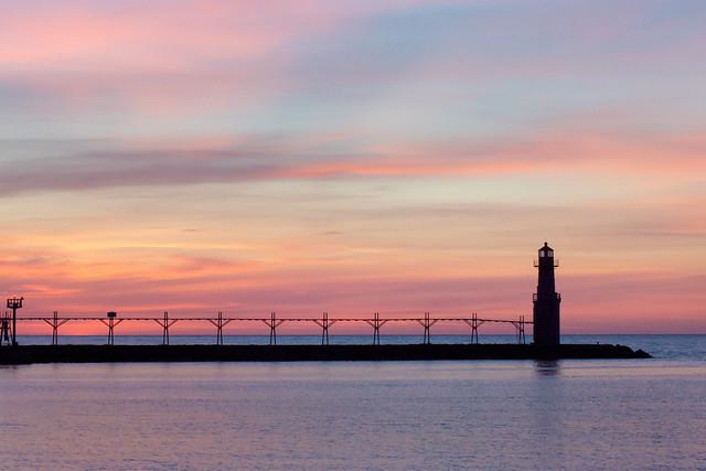 Sunrise, Lighthouse, Blue, Pink, Lake Michigan, Algoma