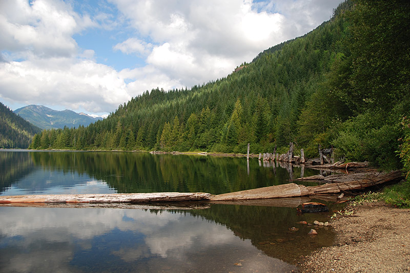Oshinow Lake Campground, Strathcona Provincial Park, Central Vancouver Island, British Columbia, Canada