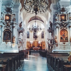 Inside the Lublin Dominican church. Relatively modest style....