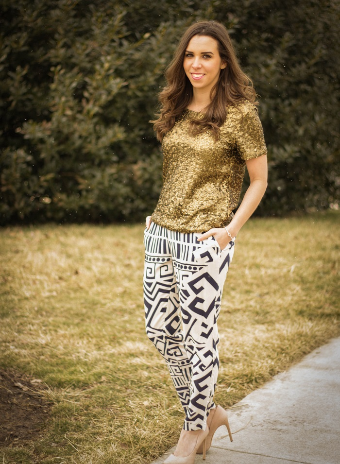 va darling. dc blogger. virginia blogger. copper sequins top. printed bottom. nude heels. street style.2