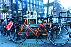 colorful bicycle close to the canal - Amsterdam 2014