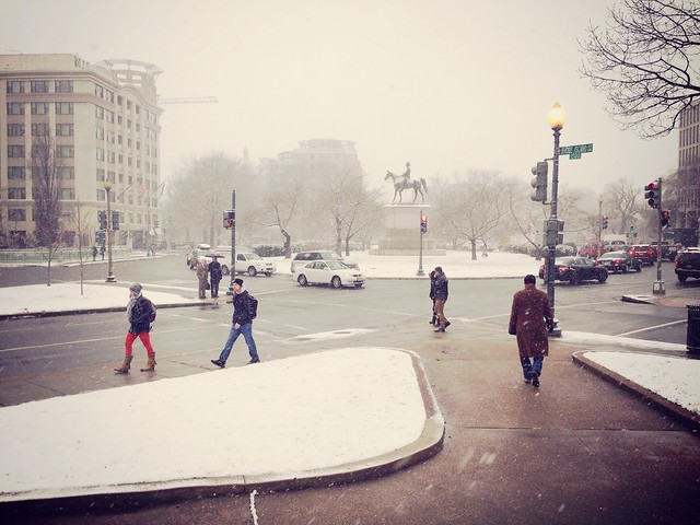 Scott Circle in the snow