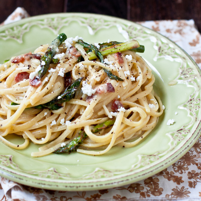 Goat Cheese & Asparagus Carbonara