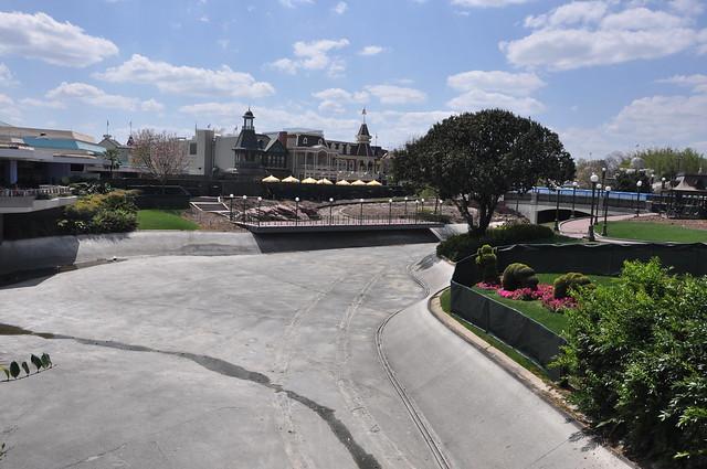 Magic Kingdom Cinderella Castle and moat construction