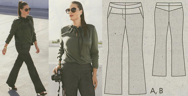 Burda-April-2014 Plus Size Leather Yoke Trousers