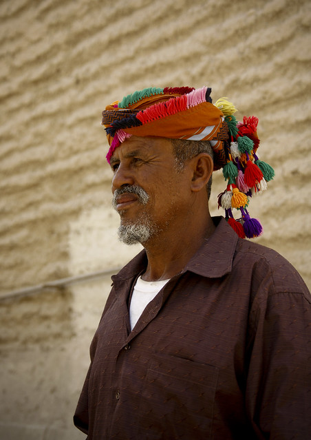 Profile Of An Old Man Wearing  A Colourful Turban With Bobbles, Hadramaut, Yemen