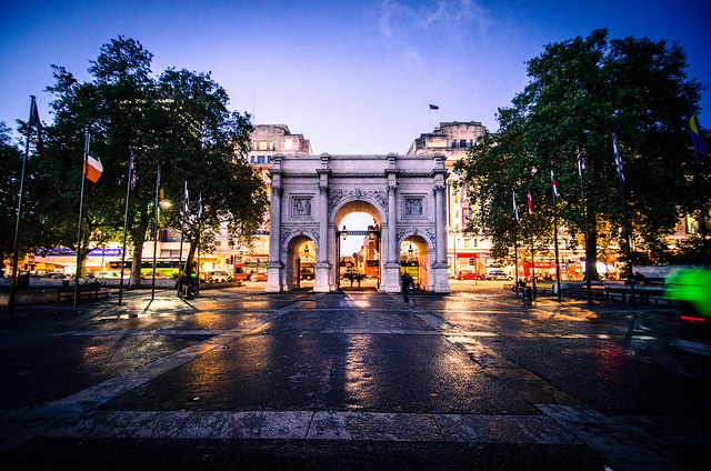 Even at night London's Marble Arch is full of action.
