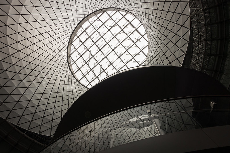 Fulton Center staircase and ceiling